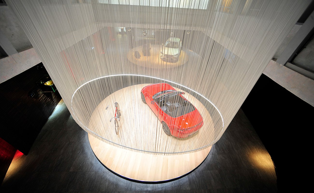 Top view of the rotating platform for product display at the Mazda Design Space