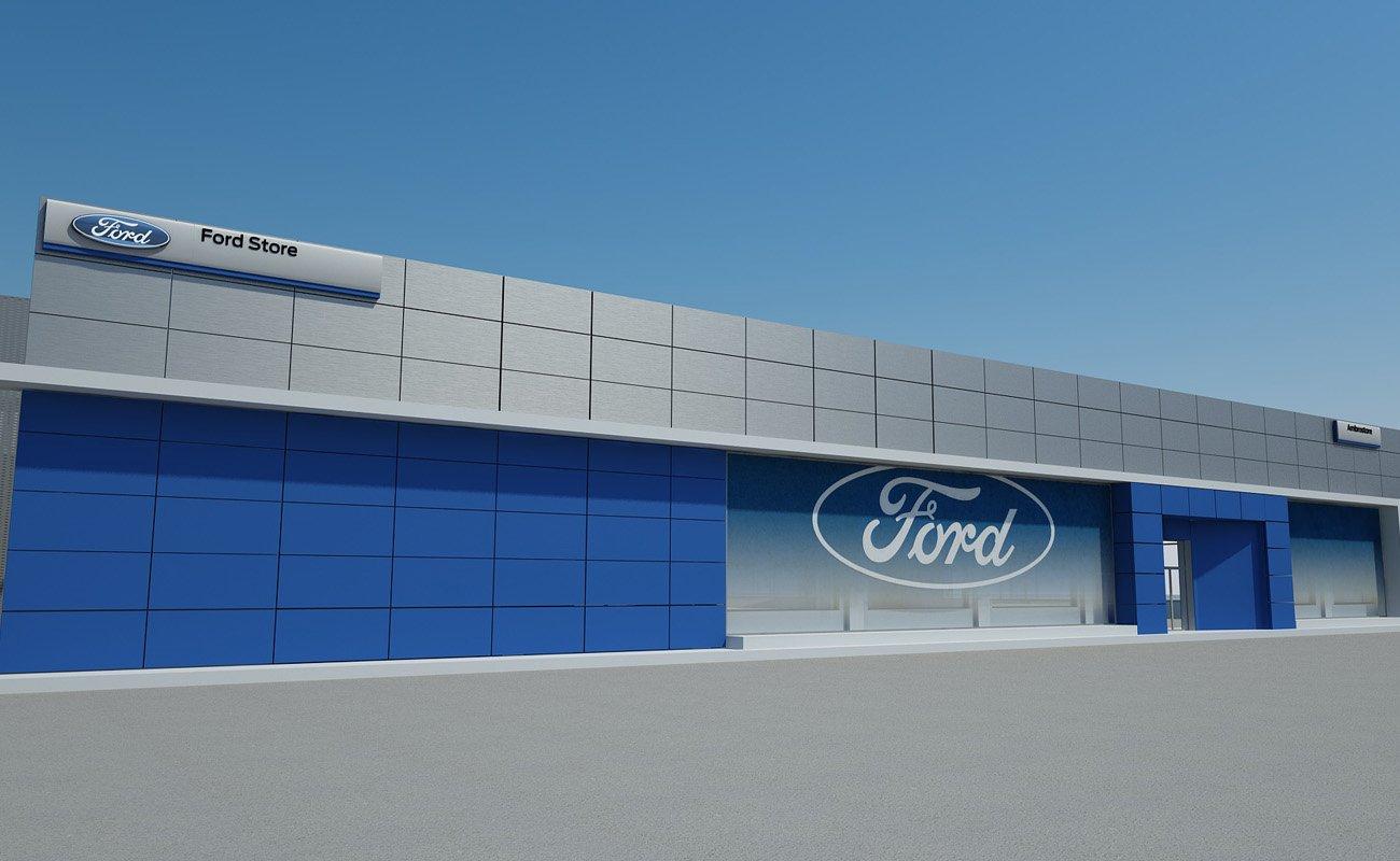 Render illustrativo della facciata del FordStore Ambrostore