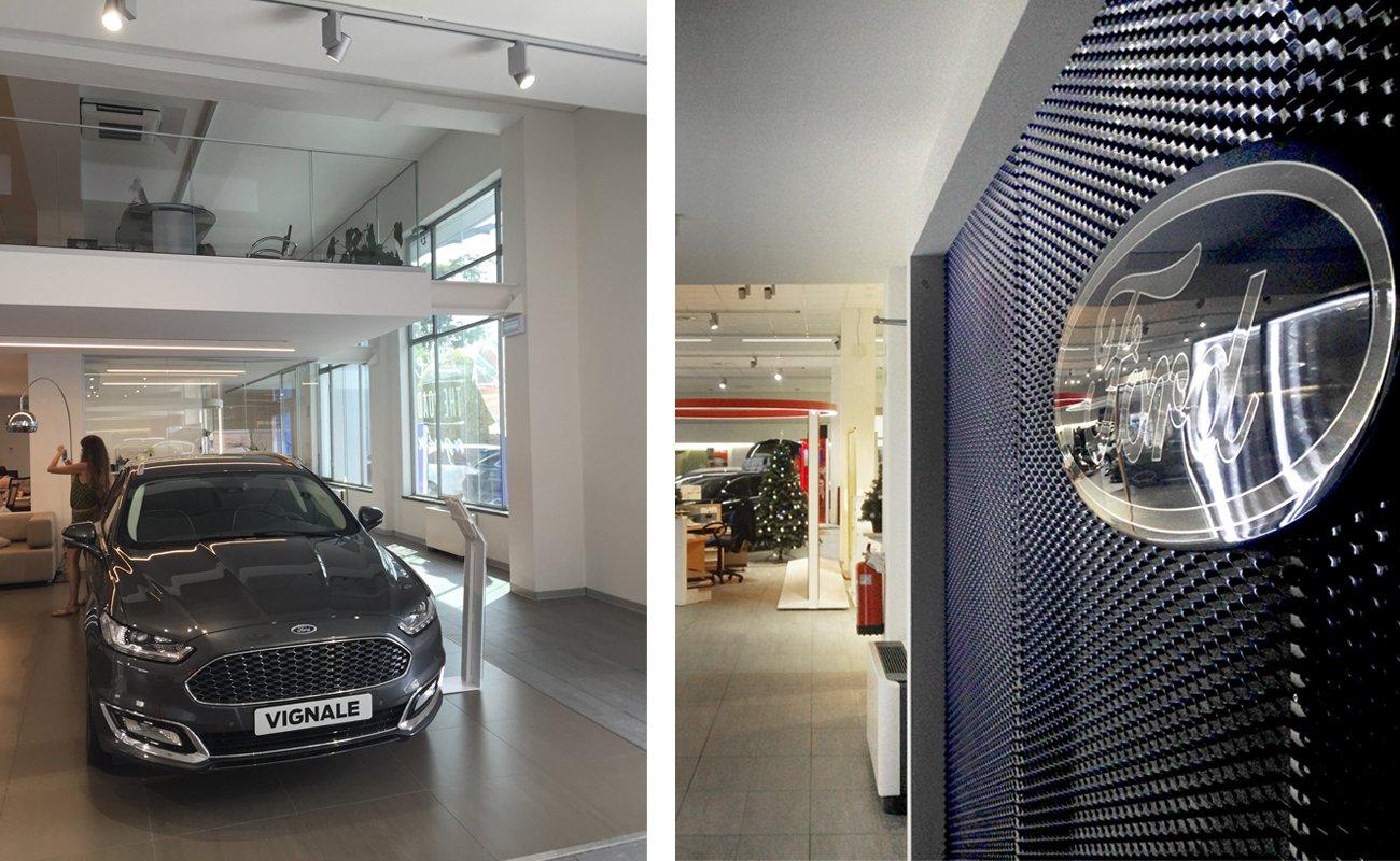 Particolari allestimento FordStore Milano