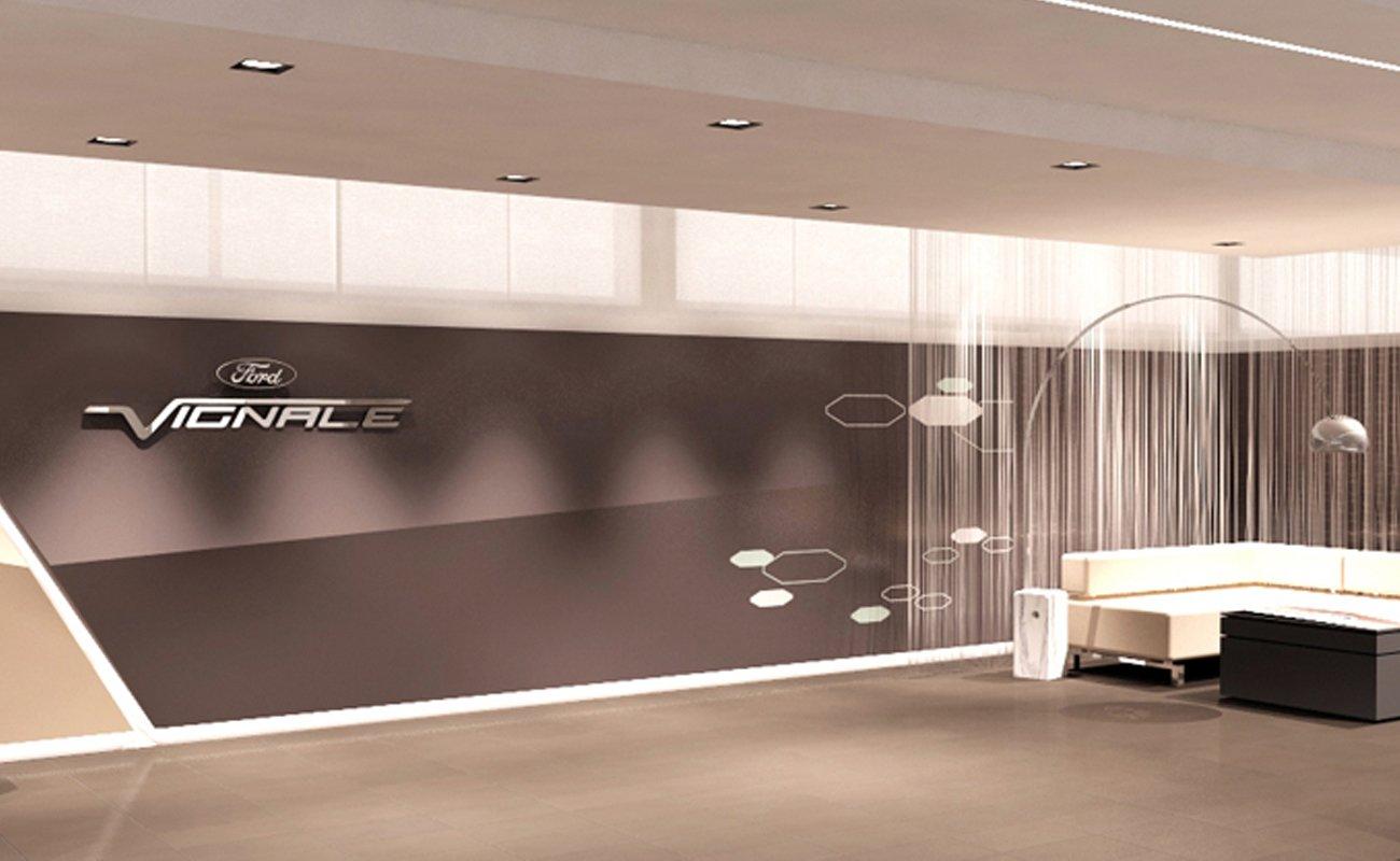 Render illustrativo della Vignale Lounge progettata per il FordStore Autosas a Firenze