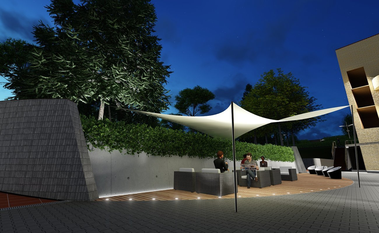 Render illustrativo area lounge esterna CTF