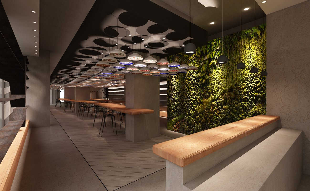 Installation with ceramic ceiling plates in the center of the restaurant