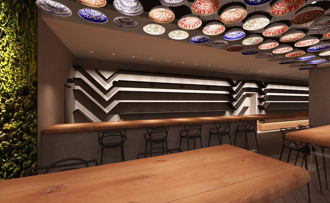 The shelves of the restaurant are designed inspired by a typical Romanian motif