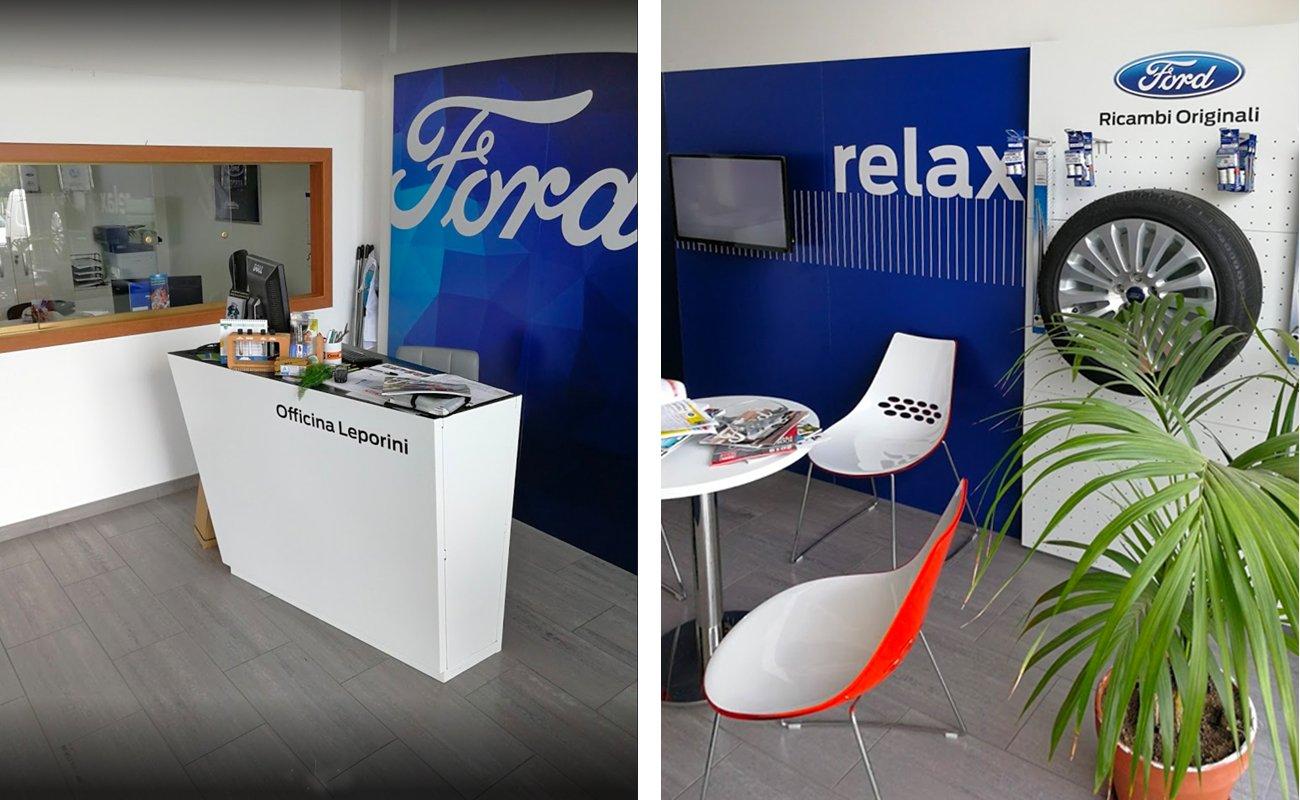 Area accettazione e relax del Kit Ford per riparatori autorizzati