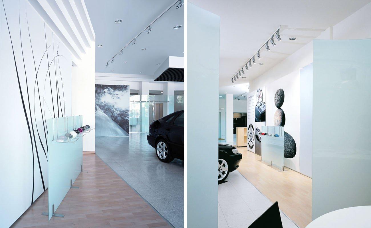 Particolari relativi al layout interno degli showrooms Saab Italia