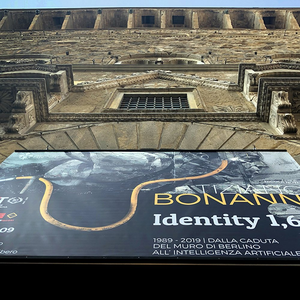Detail of the communication banner of Tiziano Bonanni Identity 1,618 exhibition at the Sala d'Arme of Palazzo Vecchio