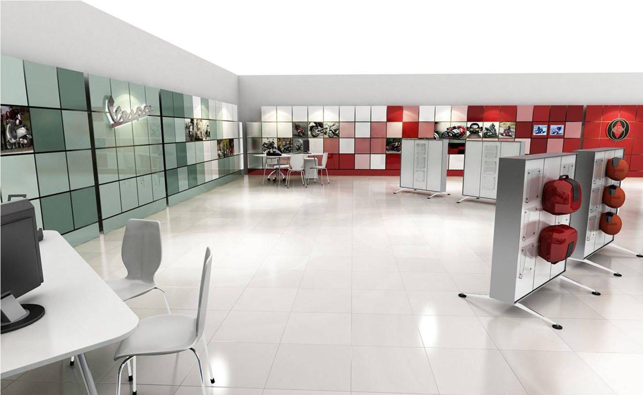 Dettaglio angolo Vespa all'interno del Piaggio Concept Store