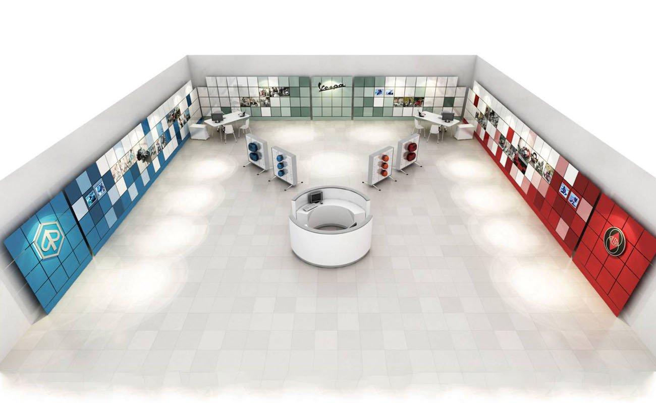 Vista generale del render illustrativo creato per il concept del piaggio group store